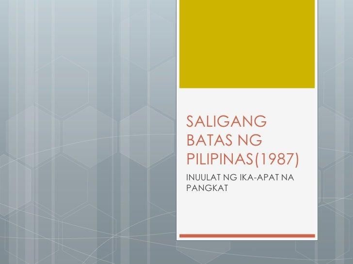 SALIGANGBATAS NGPILIPINAS(1987)INUULAT NG IKA-APAT NAPANGKAT