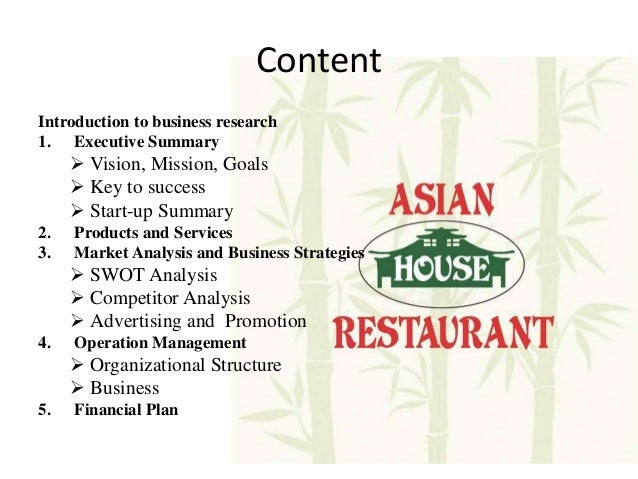 Start-Up Business Plan In Us - Asian House Restaurant In Us