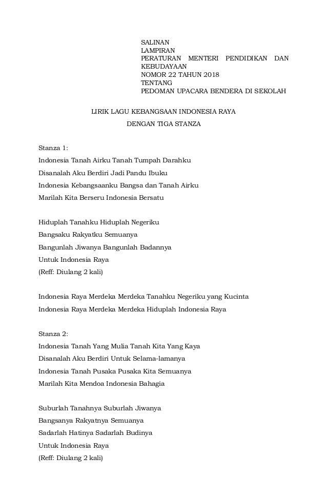 SALINAN LAMPIRAN PERATURAN MENTERI PENDIDIKAN DAN KEBUDAYAAN NOMOR 22 TAHUN 2018 TENTANG PEDOMAN UPACARA BENDERA DI SEKOLA...