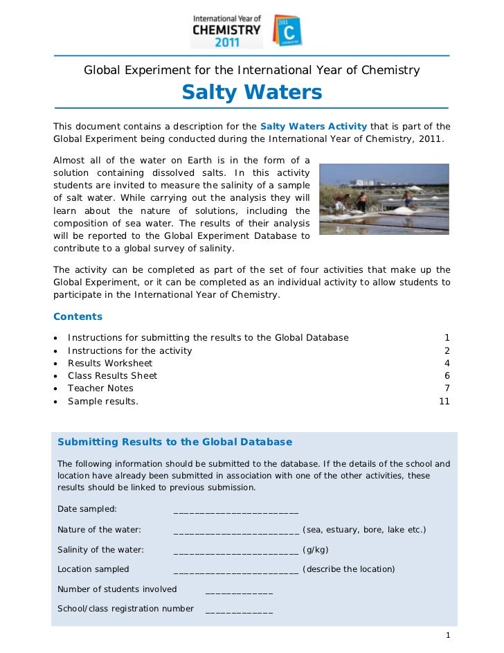 Global Experiment for the International Year of Chemistry                                  Salty WatersThis d...