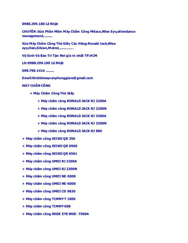 0988.299.180 Lê Nhật  CHUYÊN :Sửa Phần Mềm Máy Chấm Công Mitaco,Wise Eye,attendance  management,.........  Sửa Máy Chấm Cô...