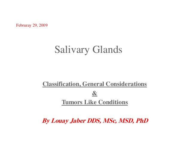 Februray 29, 2009  Salivary Glands  Classification, General Considerations & Tumors Like Conditions  By Louay Jaber DDS, M...
