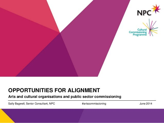v OPPORTUNITIES FOR ALIGNMENT Arts and cultural organisations and public sector commissioning Sally Bagwell, Senior Consul...
