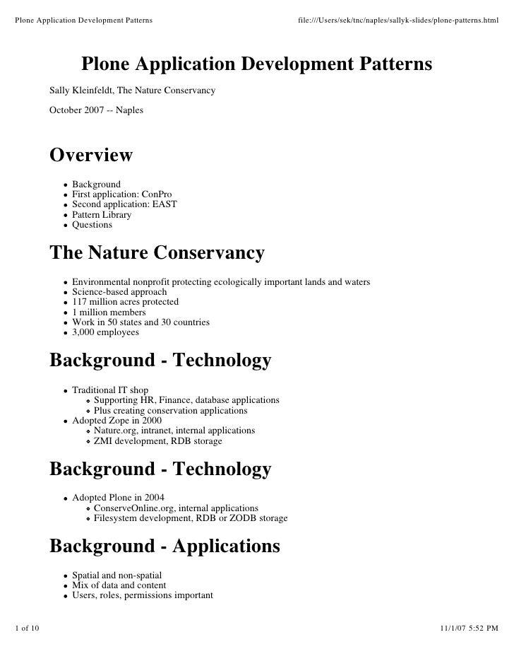 Plone Application Development Patterns                                 file:///Users/sek/tnc/naples/sallyk-slides/plone-pa...