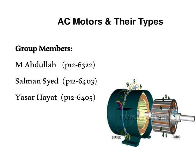 AC Motors & Their Types GroupMembers: MAbdullah (p12-6322) SalmanSyed (p12-6403) YasarHayat (p12-6405)