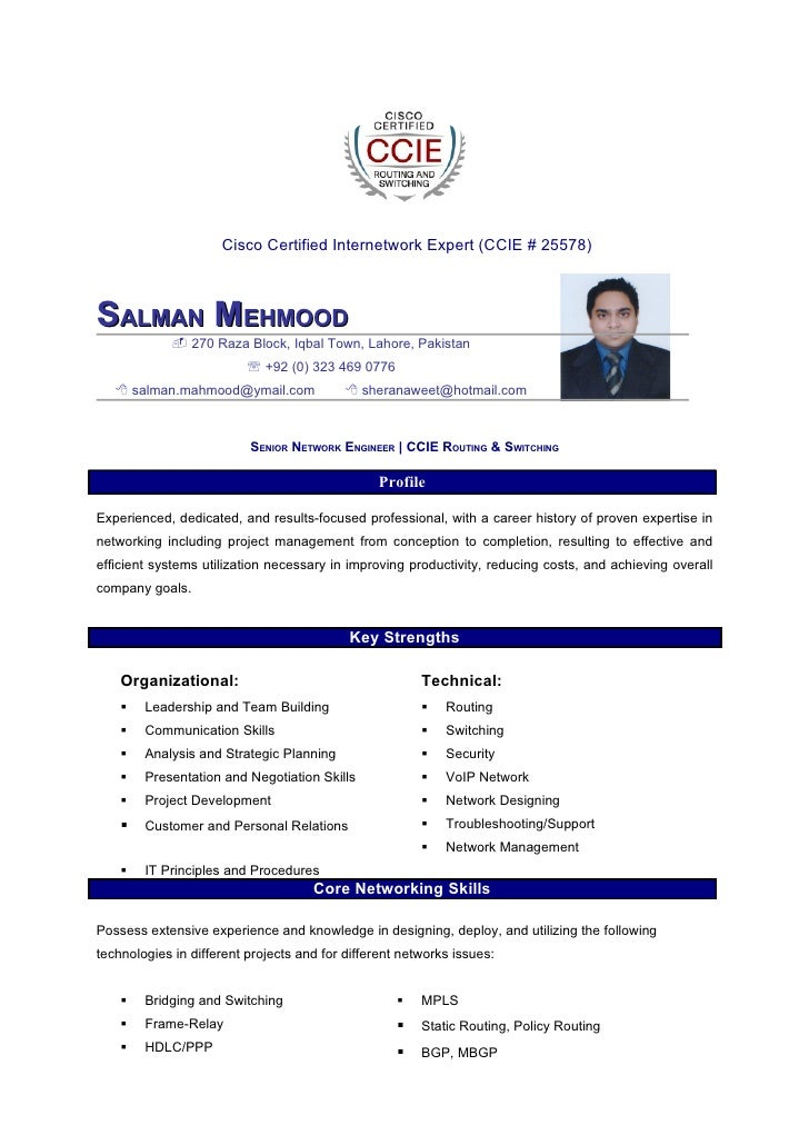 cisco certified internetwork expert ccie 25578 salman mehmood 270 raza block - Huawei Certified Network Engineer Sample Resume