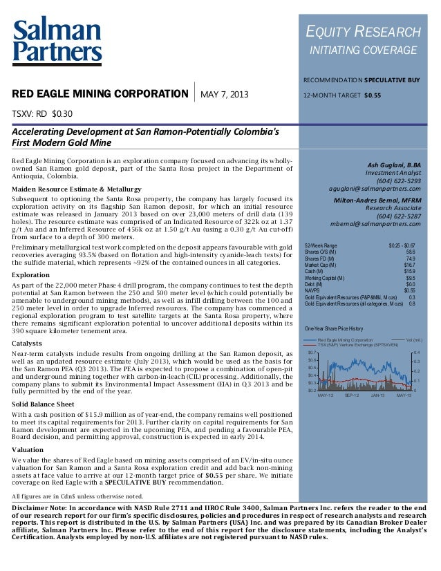 This page intentionally left blankRED EAGLE MINING CORPORATION MATERIALS2
