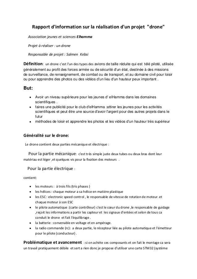 """Rapport d'information sur la réalisation d'un projet """"drone"""" Association jeunes et sciences Elhamma Projet à réaliser : un..."""