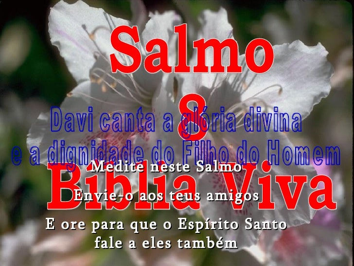 Salmo 8 Bíblia Viva Davi canta a glória divina e a dignidade do Filho do Homem Medite neste Salmo Envie-o aos teus amigos ...