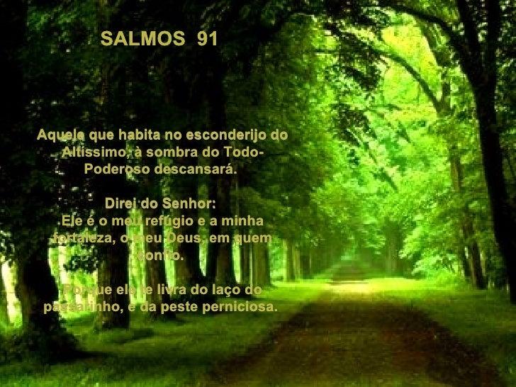 SALMOS  91  Aquele que habita no esconderijo do Altíssimo, à sombra do Todo- Poderoso descansará.  Direi do Senhor:  Ele é...
