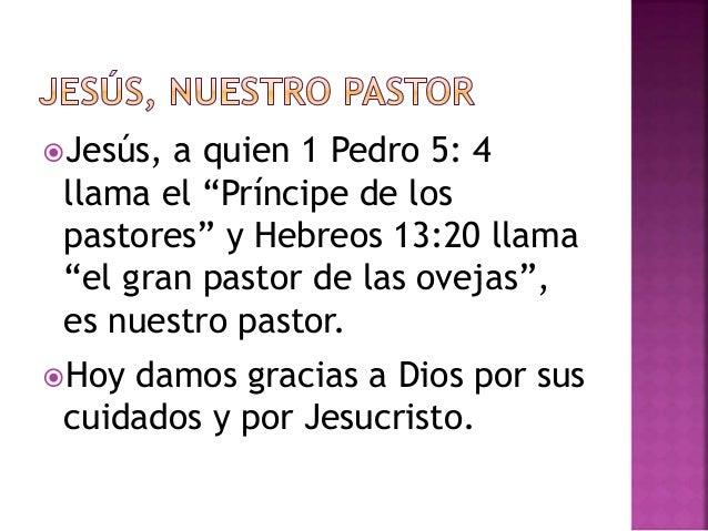 """Jesús, a quien 1 Pedro 5: 4  llama el """"Príncipe de los  pastores"""" y Hebreos 13:20 llama  """"el gran pastor de las ovejas"""", ..."""