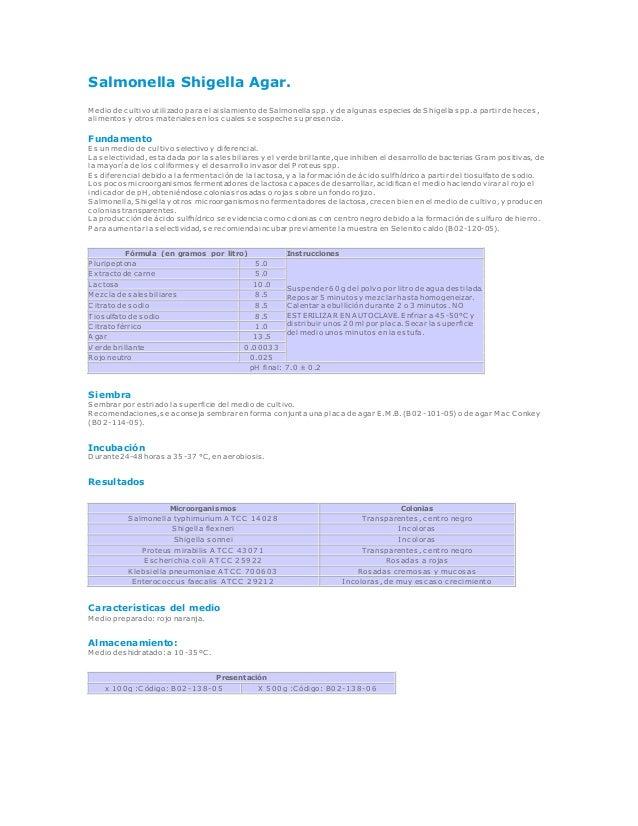 Salmonella Shigella Agar. M edio de cultivo utilizado para el aislamiento de Salmonella spp. y de algunas especies de Shig...