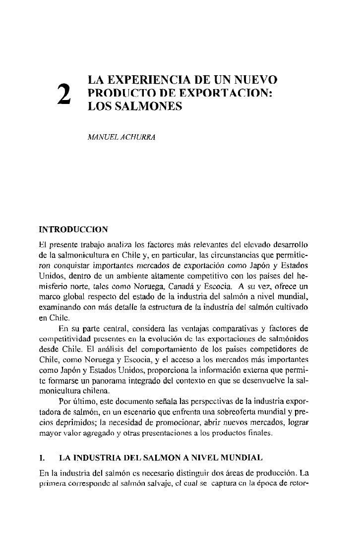 LA EXPERIENCIA DE UN NUEVO      2        PRODUCTO DE EXPORTACION:               LOS SALMONES                MANUEL ACHURRA...