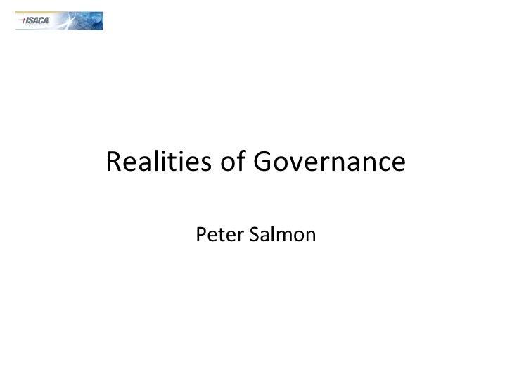 Realities of Governance Peter Salmon