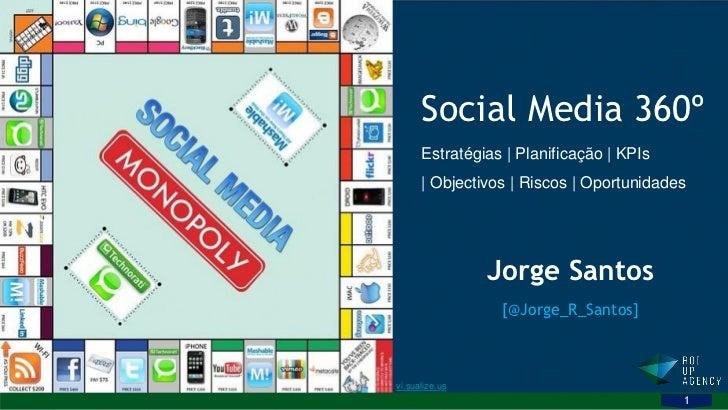 Social Media 360º      Estratégias | Planificação | KPIs      | Objectivos | Riscos | Oportunidades                Jorge S...