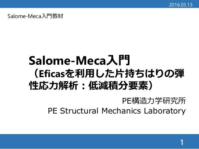 Salome-Meca入門教材 Salome-Meca入門 (Eficasを利用した片持ちはりの弾 性応力解析:低減積分要素) 1 2016.03.13 PE構造力学研究所 PE Structural Mechanics Laboratory