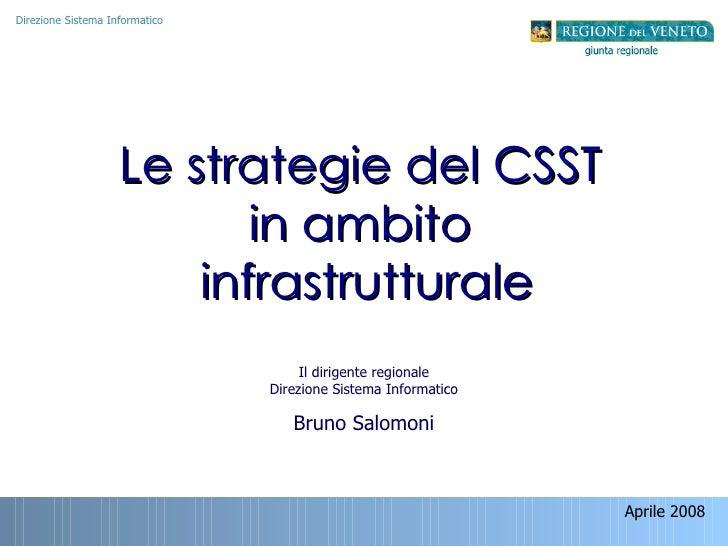 Aprile 2008  Le strategie del CSST  in ambito  infrastrutturale Direzione Sistema Informatico Il dirigente regionale Direz...