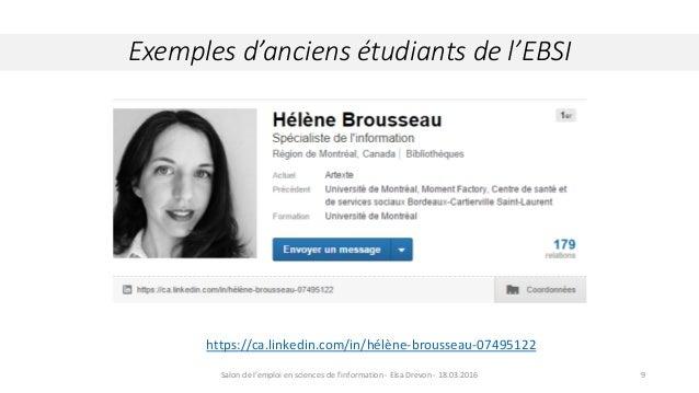 Exemples d'anciens étudiants de l'EBSI Crédit : Wikipedia.org. Comète Hall Bopp, 29 mars 19979 https://ca.linkedin.com/in/...