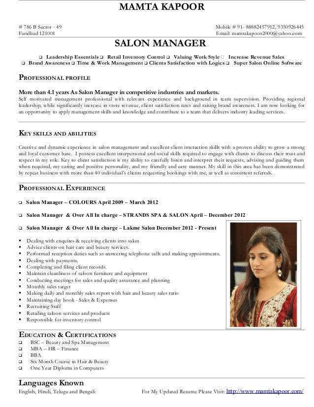 Salon manager-mamta-kapoor