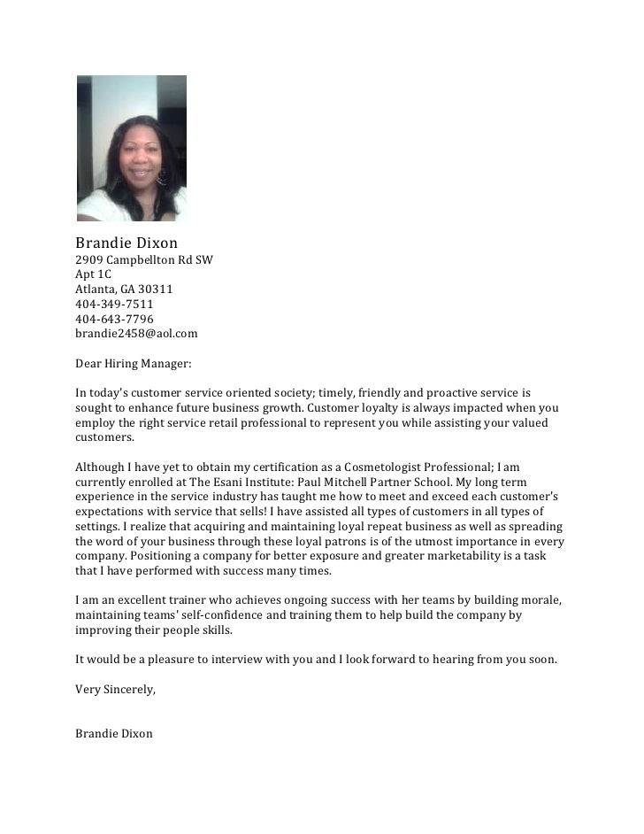 Salon Cover Letter. Brandie Dixonu003cbr /u003e2909 Campbellton Rd SWu003cbr /u003eApt 1C  Cosmetologist Cover Letter