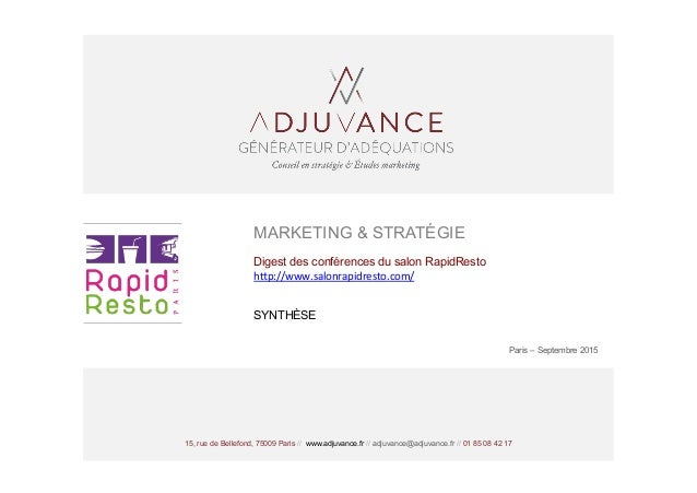 15, rue de Bellefond, 75009 Paris // www.adjuvance.fr // adjuvance@adjuvance.fr // 01 85 08 42 17 MARKETING & STRATÉGIE Di...