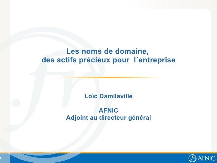 Les noms de domaine,  des actifs précieux pour  l´entreprise Loïc Damilaville AFNIC Adjoint au directeur général