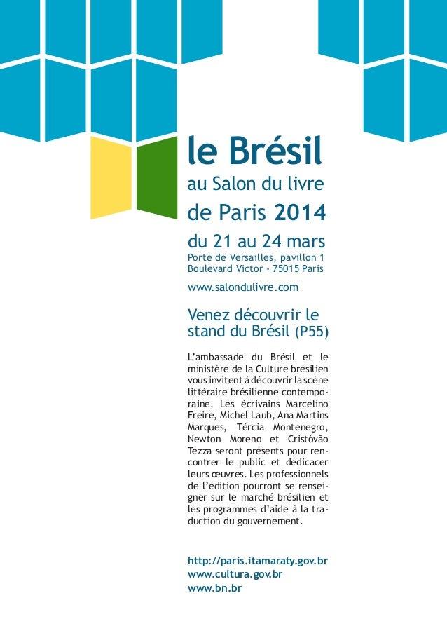du 21 au 24 mars Porte de Versailles, pavillon 1 Boulevard Victor - 75015 Paris www.salondulivre.com Venez découvrir le st...