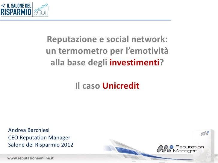 Reputazione e social network:                   un termometro per l'emotività                    alla base degli investime...