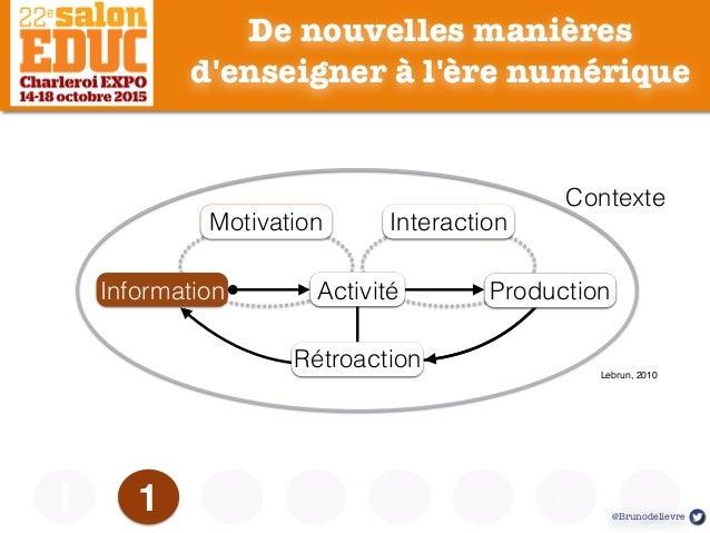 De nouvelles manières d'enseigner à l'ère numérique 1I Information Lebrun, 2010 Contexte MotivationMotivation InteractionI...