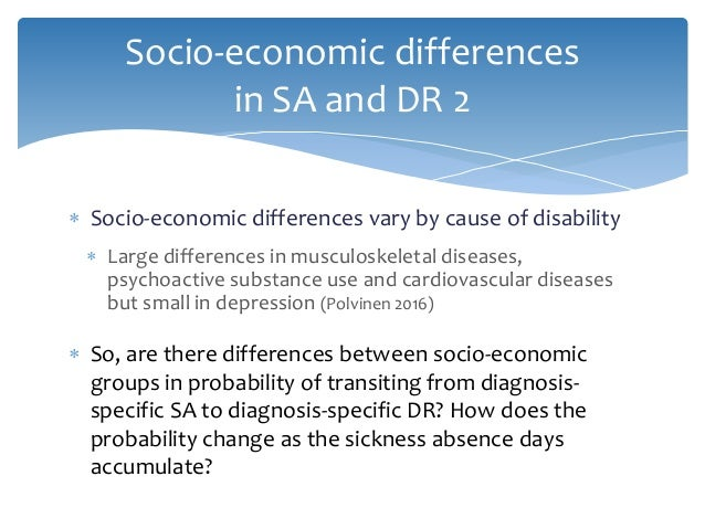  Socio-economic differences vary by cause of disability  Large differences in musculoskeletal diseases, psychoactive sub...
