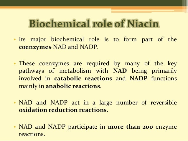 """metabolism and word niacin The human body can get niacin from the diet or synthesize it from the amino acid tryptophan niacin plays a critical role in the metabolism of fat, carbohydrates and amino acids niacin deficiency causes pellagra which is characterized by a group of symptoms known as """"the four ds,"""" referring to dermatitis, dementia, diarrhea, and death."""