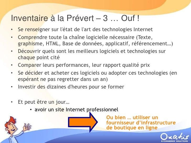 Inventaire à la Prévert – 3 … Ouf ! • Se renseigner sur l'état de l'art des technologies Internet • Comprendre toute la ch...