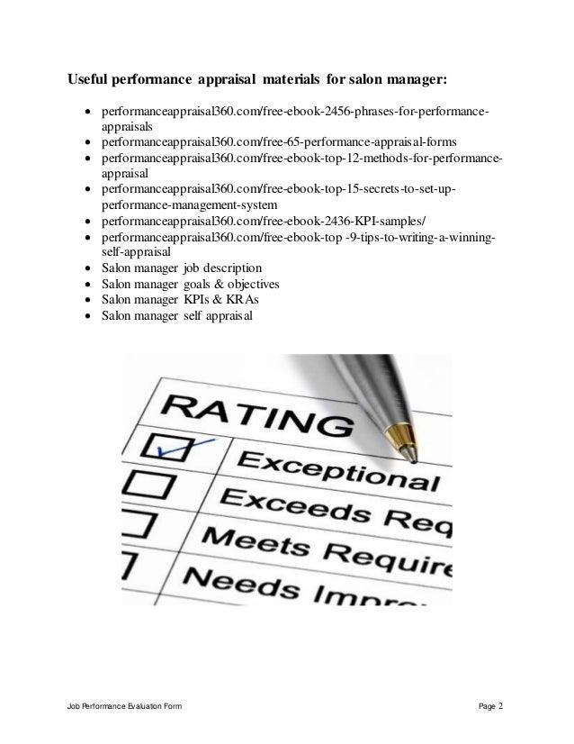 job performance evaluation form page 1 salon manager performance appraisal 2 salon manager description