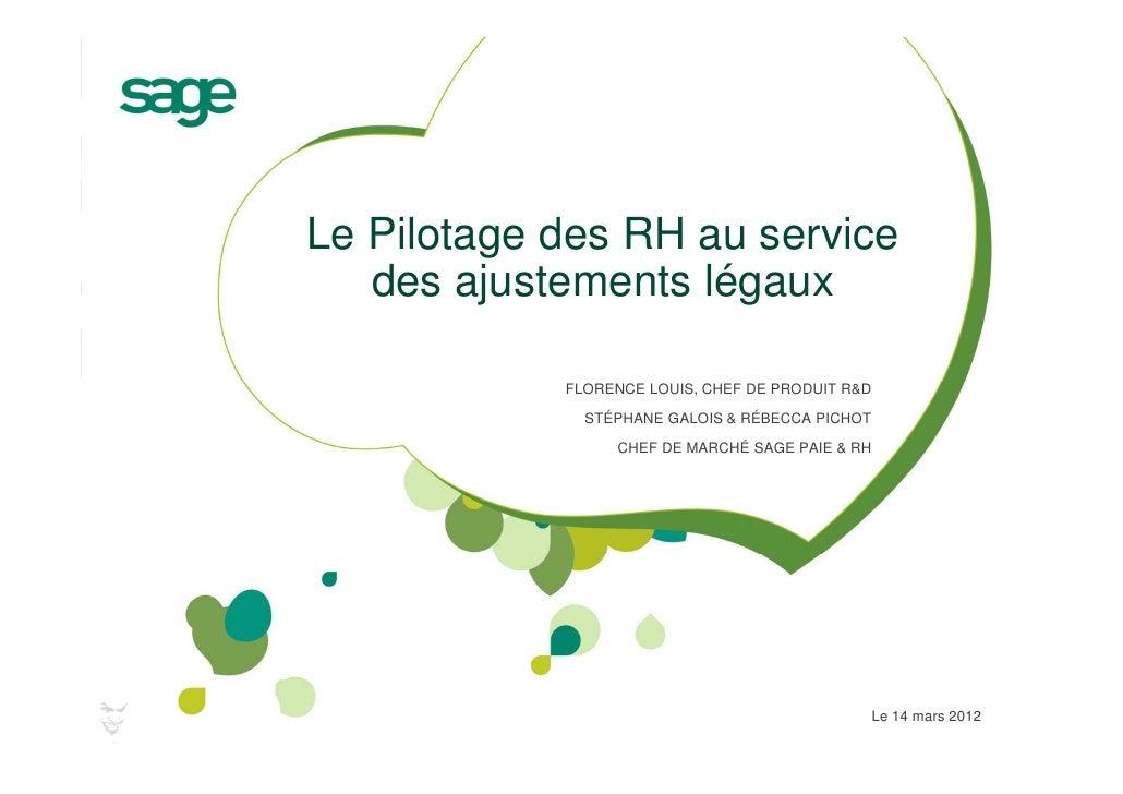 Le Pilotage des RH au service   des ajustements légaux            FLORENCE LOUIS, CHEF DE PRODUIT R&D              STÉPHAN...