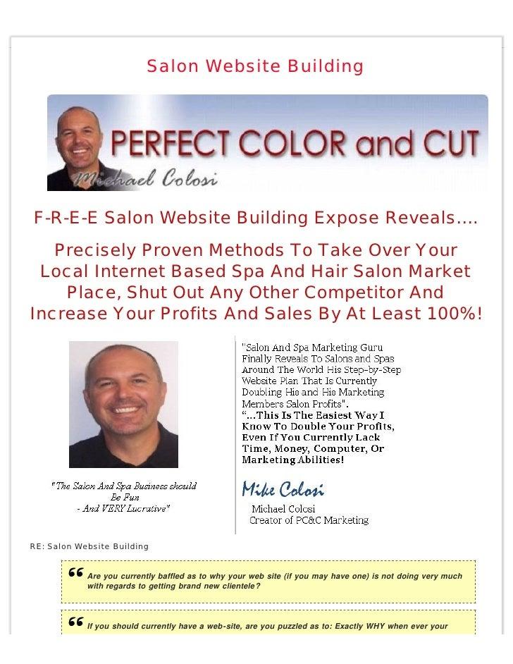Salon Website Building     F-R-E-E Salon Website Building Expose Reveals….    Precisely Proven Methods To Take Over Your  ...