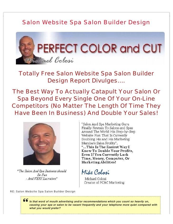 Salon Website Spa Salon Builder Design          Totally Free Salon Website Spa Salon Builder                Design Report ...