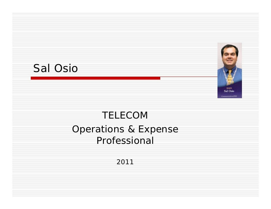 Sal Osio Telecom Operations Manager 2010