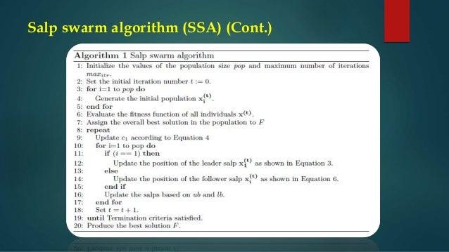 Salp swarm algorithm