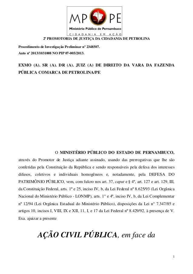 2ª PROMOTORIA DE JUSTIÇA DA CIDADANIA DE PETROLINA Procedimento de Investigação Preliminar nº 2348507. Auto nº 2013/103100...