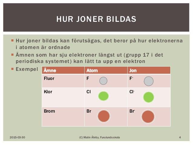  Hur joner bildas kan förutsägas, det beror på hur elektronerna i atomen är ordnade  Ämnen som har sju elektroner längst...