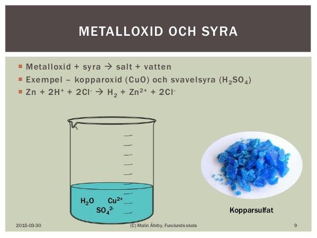  Metalloxid + syra  salt + vatten  Exempel – kopparoxid (CuO) och svavelsyra (H2SO4)  Zn + 2H+ + 2Cl-  H2 + Zn2+ + 2C...