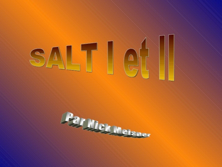 SALT I et II Par Nick Meisner