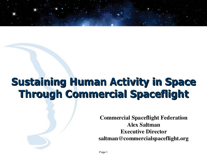 Sustaining Human Activity in Space Through Commercial Spaceflight                 Commercial Spaceflight Federation       ...