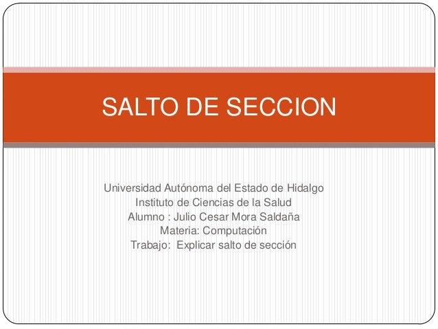 Universidad Autónoma del Estado de HidalgoInstituto de Ciencias de la SaludAlumno : Julio Cesar Mora SaldañaMateria: Compu...