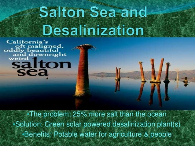 •The problem: 25% more salt than the ocean •Solution: Green solar powered desalinization plant(s) •Benefits: Potable water...