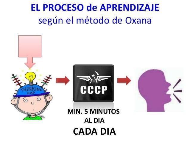 EL PROCESO de APRENDIZAJE según el método de Oxana  MIN. 5 MINUTOS AL DIA  CADA DIA