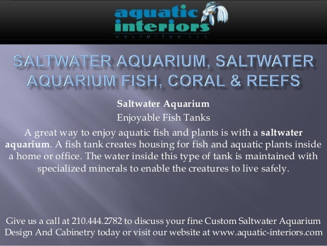 Saltwater Aquarium                         Enjoyable Fish Tanks    A great way to enjoy aquatic fish and plants is with a ...