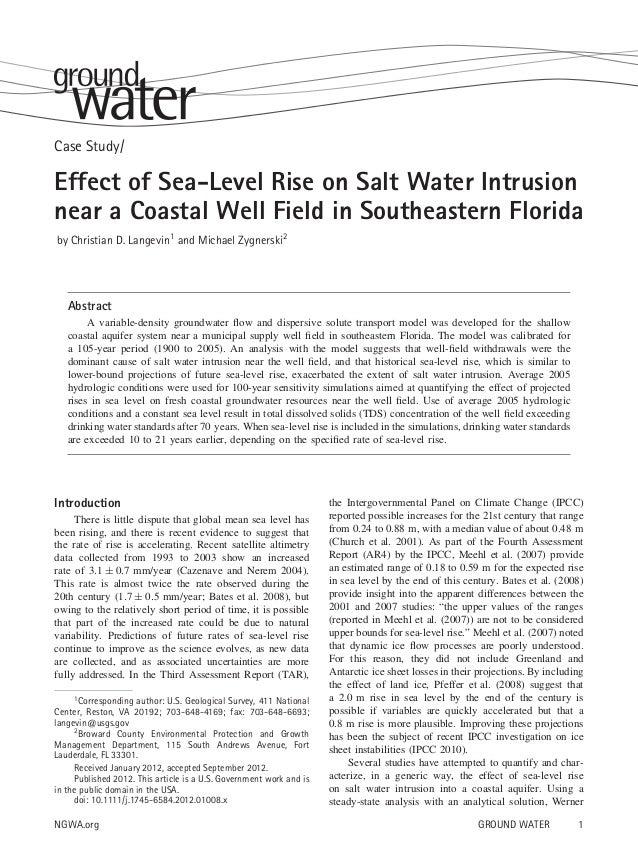 Case Study/  Effect of Sea-Level Rise on Salt Water Intrusion near a Coastal Well Field in Southeastern Florida by Christi...