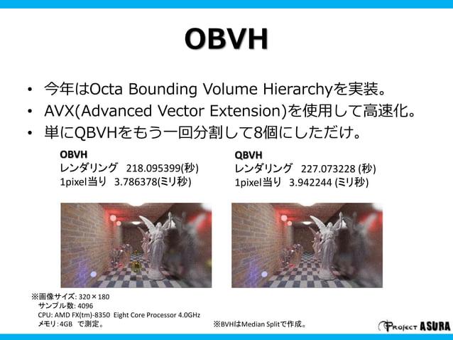 OBVH  • 今年はOcta Bounding Volume Hierarchyを実装。  • AVX(Advanced Vector Extension)を使用して高速化。  • 単にQBVHをもう一回分割して8個にしただけ。  OBVH ...