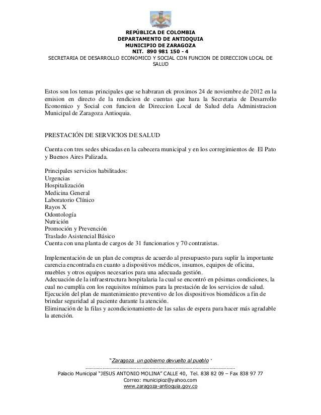 REPÚBLICA DE COLOMBIA                        DEPARTAMENTO DE ANTIOQUIA                           MUNICIPIO DE ZARAGOZA    ...